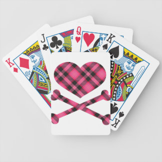 heart and cross bones pink black plaid bicycle playing cards