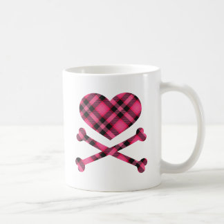 heart and cross bones pink black plaid coffee mug