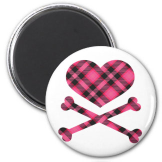 heart and cross bones pink black plaid 2 inch round magnet