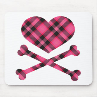 heart and cross bones pink black plaid mouse pad