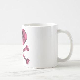 heart and cross bones pink black plaid coffee mugs