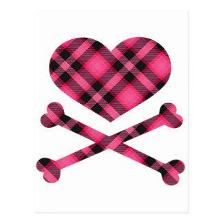 heart and cross bones pink black plaid postcard