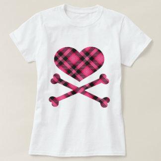 heart and cross bones pink black plaid t shirt