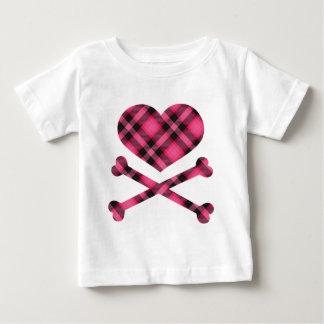 heart and cross bones pink black plaid tshirt