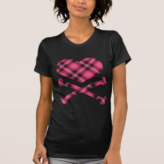 heart and cross bones pink black plaid t-shirts