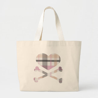 heart and cross bones pink grey plaid bags
