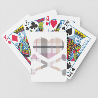 heart and cross bones pink grey plaid bicycle playing cards