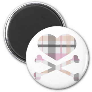 heart and cross bones pink grey plaid 2 inch round magnet