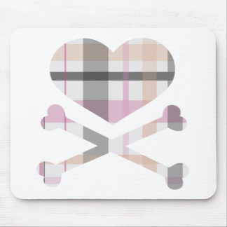 heart and cross bones pink grey plaid mouse pad