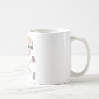 heart and cross bones pink grey plaid mugs