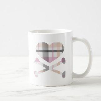 heart and cross bones pink grey plaid coffee mug