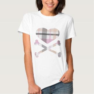 heart and cross bones pink grey plaid tshirts