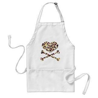 heart and cross bones pink leopared apron
