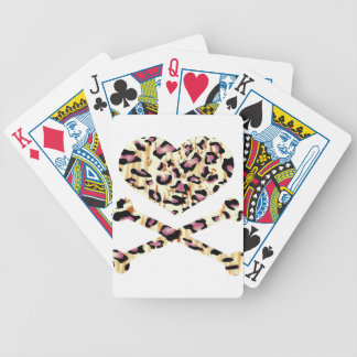 heart and cross bones pink leopared bicycle playing cards