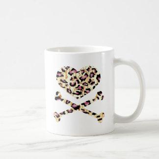heart and cross bones pink leopared mugs