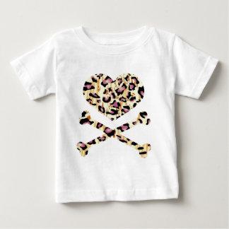 heart and cross bones pink leopared t shirt