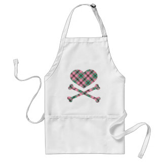 heart and cross bones pink teal plaid aprons