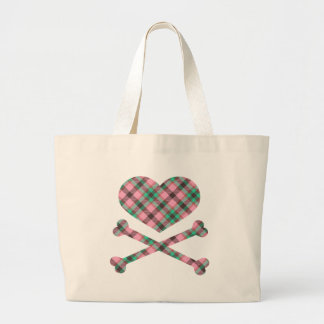 heart and cross bones pink teal plaid tote bags