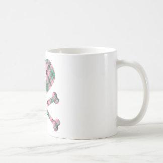 heart and cross bones pink teal plaid coffee mug