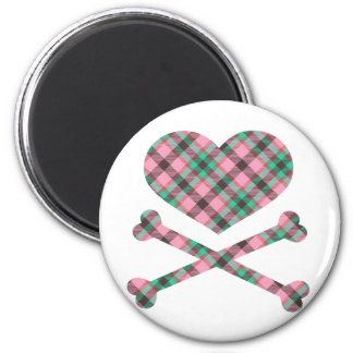 heart and cross bones pink teal plaid 2 inch round magnet