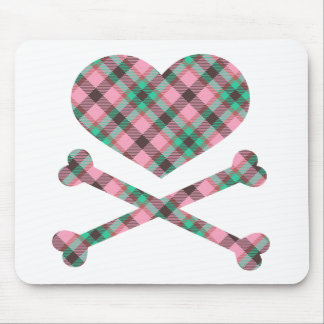 heart and cross bones pink teal plaid mouse pad