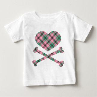 heart and cross bones pink teal plaid tshirts