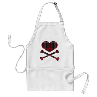 heart and cross bones red black plaid aprons