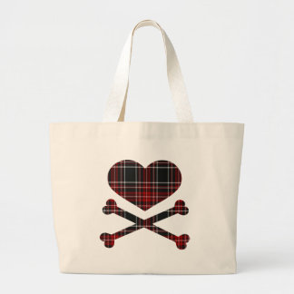 heart and cross bones red black plaid bag