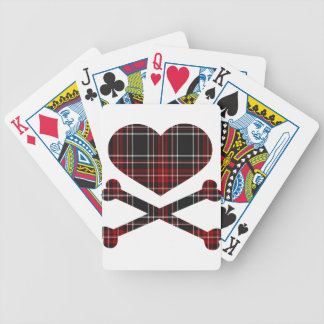heart and cross bones red black plaid bicycle playing cards