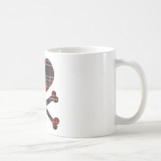 heart and cross bones red black plaid coffee mug