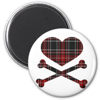 heart and cross bones red black plaid 2 inch round magnet