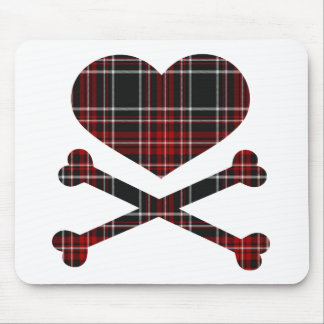 heart and cross bones red black plaid mouse pad