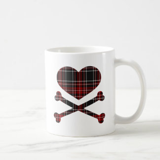 heart and cross bones red black plaid mugs