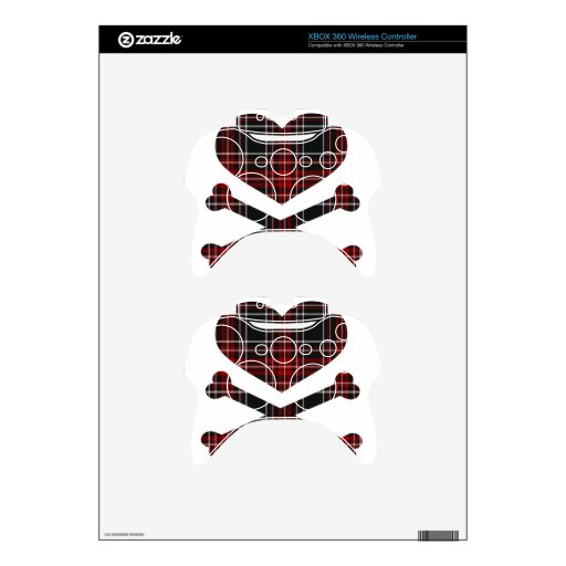 heart and cross bones red black plaid xbox 360 controller decal