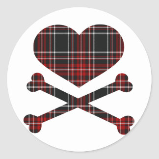 heart and cross bones red black plaid round stickers