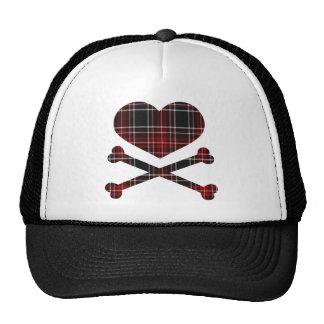 heart and cross bones red black plaid trucker hat