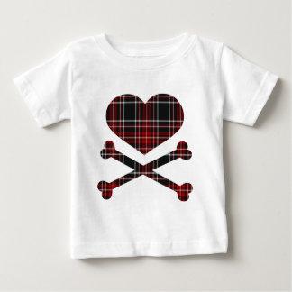 heart and cross bones red black plaid tees