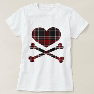 heart and cross bones red black plaid tshirt