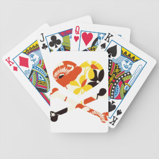 heart and cross bones retro flowers bicycle playing cards
