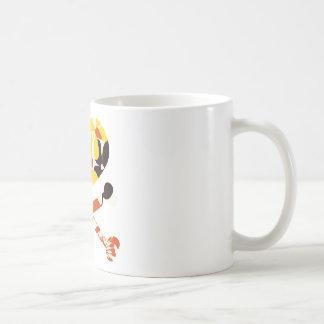 heart and cross bones retro flowers coffee mug