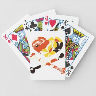 heart and cross bones retro flowers card decks