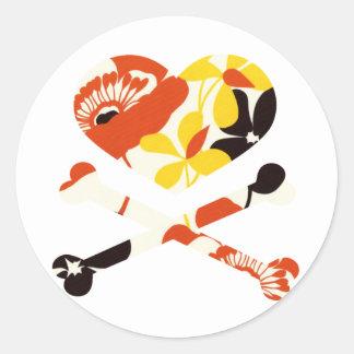 heart and cross bones retro flowers sticker