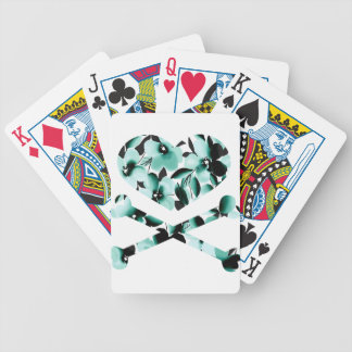 heart and cross bones teal black flowers bicycle playing cards