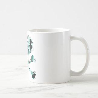 heart and cross bones teal black flowers mug