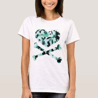 heart and cross bones teal black flowers T-Shirt