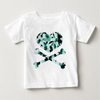 heart and cross bones teal black flowers infant t-shirt