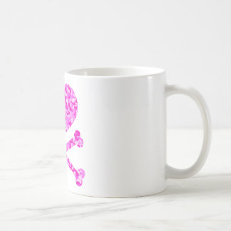 heart and cross bones urban camo pink coffee mug