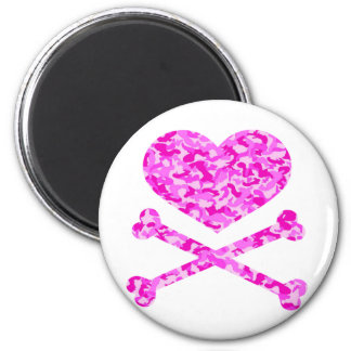 heart and cross bones urban camo pink 2 inch round magnet
