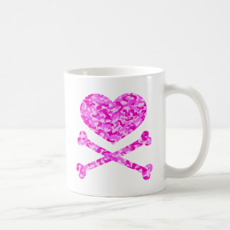 heart and cross bones urban camo pink mugs