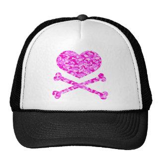 heart and cross bones urban camo pink trucker hat